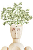 Money tree growing from human head. Psychology of wealth Stock Image