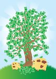 Money tree that grows gold coins Stock Images
