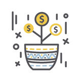 Money tree Growth in a pot Stock Image