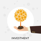 Money tree. Human hand with gold money tree. Investment concept illustration Royalty Free Stock Photos
