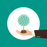 Money tree. Human hand with money tree. Investment concept illustration Royalty Free Stock Photos