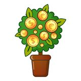 Money tree icon, flat style Royalty Free Stock Images