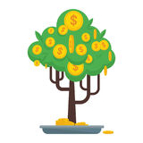 Money tree icon. Money tree with gold coins and paper dollars. Symbol of success, wealth and power. Finance and banks, savings and investments. Flat vector Stock Photography