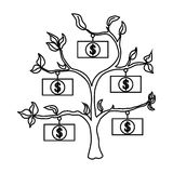 Money tree icon, outline style Royalty Free Stock Photography