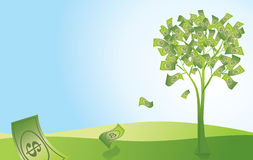 Money Tree. Illustration of money falling off a money tree Stock Photos