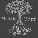Money tree isolated. Money tree painted on a dark background Stock Images