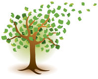 Money Tree Logo. A money tree gorws and the wind blows currency from the bracnches in this logo icon Royalty Free Stock Images