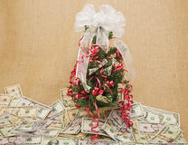Money tree paper wealth savings background Stock Photo