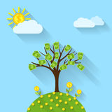 Money tree. Picture of a cartoon landscape with money tree, sun, flowers and sky flat style illustration Royalty Free Stock Photos