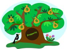 Money Tree of Prosperity with Crow stock illustration