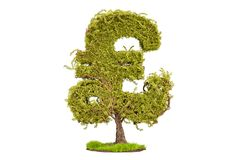 Money tree in the shape of a pound sterling symbol, 3D rendering Royalty Free Stock Images