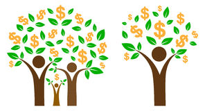 Money tree. Simple illustration of money tree on family income concept