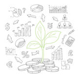 Money tree sprout and financial symbols vector. Sketch. Hand drawn business doodles set Stock Image