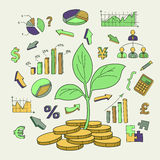 Money tree sprout and financial symbols vector Royalty Free Stock Photography