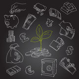 Money tree sprout and financial symbols vector. Sketch. Hand drawn doodles set Royalty Free Stock Photos
