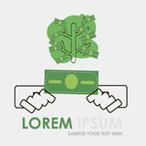 Money and tree template business logo. Vector illustration royalty free illustration