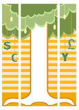Money tree on triple banner Royalty Free Stock Images