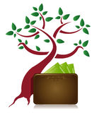 Money tree and wallet illustration design Royalty Free Stock Image