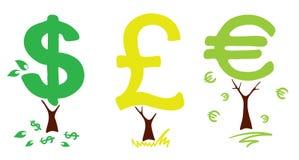 Money trees. Vector illustration - three fun money tree vector illustration
