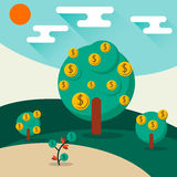 Money trees. A conceptual illustration of a trees growing money in the form of dollar coins. Concept for profit or economic growth, earning interest or similar Stock Images