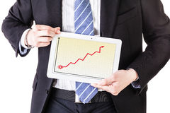 Money trends on a tablet Royalty Free Stock Image