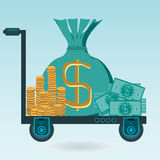 Money on the trolley. Coins, dollar bills, a bag of money Royalty Free Stock Image