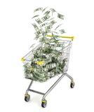 Money Trolley. Shopping cart full of money bills. Stock Image
