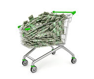 Money Trolley. Shopping cart full of money bills. Stock Photo