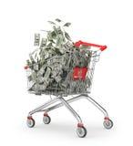 Money Trolley. Shopping cart full of money bills. Royalty Free Stock Photography