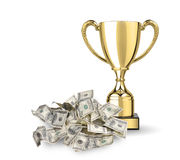 Money and trophy Royalty Free Stock Photos