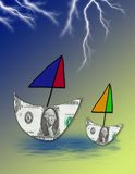Money Trouble. Computer generated image concept. Boats made of dollar bills set sail. Stormy weather ahead. Financial problems, worries, etc Royalty Free Stock Photography