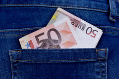 Money in trouser pocket Stock Photography
