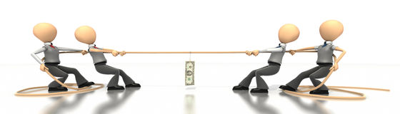 Money Tug of War. Business figures tug of war over money on white background, concept of competition Stock Images
