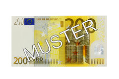 Money - Two hundred (200) Euro bill front with German lettering Muster (specimen). Money - Two hundred (200) Euro bill banknote front with German lettering Stock Photo