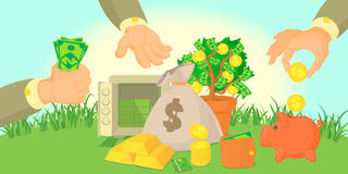 Money types horizontal banner, cartoon style Stock Image