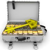 Money Ukrainian hryvnia for the purchase of real estate. Golden key in the form of the house is lying on open suitcase filled with packs of Ukrainian banknotes Stock Photo