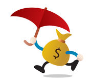 Money and umbrella Stock Photos