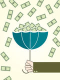 Money and umbrella. Money money to the person who fills the umbrella in the rain illustration Stock Photography