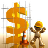 Money under construction funny 3d icon. Money sign under construction funny 3d icon illustration Royalty Free Stock Images