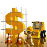 Money under construction funny 3d icon. Money sign under construction funny 3d icon illustration Royalty Free Stock Photos