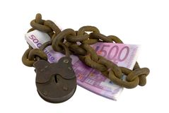 Money under lock and key Royalty Free Stock Photos