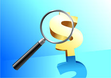 Money under magnifying glass Royalty Free Stock Image