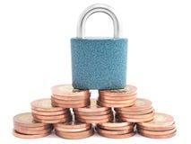 Money under padlock Stock Photography