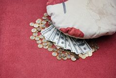 Money under a pillow Royalty Free Stock Photos