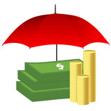 Money under red umbrella. Insurance concept. Stock Images