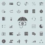 Money under the umbrella icon. Detailed set of Finance icons. Premium quality graphic design sign. One of the collection icons for. Websites, web design, mobile Royalty Free Stock Photography