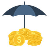 Money under umbrella protection. Insurance with flat color design. Money under umbrella protection. Vector illustration isolated on white background. Insurance Royalty Free Stock Image