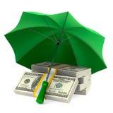 Money under umbrella on white background. Isolated 3d illustrati. On Stock Image