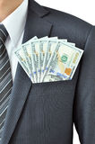 Money - United States dollar (USD) bills in businessman pocket Royalty Free Stock Photography