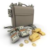Money US on a briefcase Stock Photos